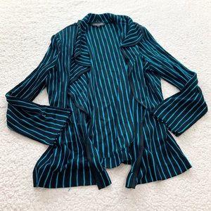 Ming wang blue black pinstripe open front cardigan